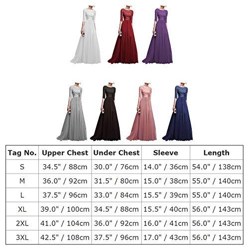 Dama 3 la Tul Encaje Cóctel Swing la Honor Vestido de de Mujer Manga 4 noche Baile de Largo de de La Vestido de Vestido Rendija IWEMEK Vestido Elegante Vestido Blanco Partido Fiesta Noche wAq4II