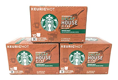 Blend House Decaffeinated Coffee Starbucks - Starbucks Decaf House Blend Medium Single Serve K-Cup Coffee Pods, 4.2 Ounce (Pack of 3)