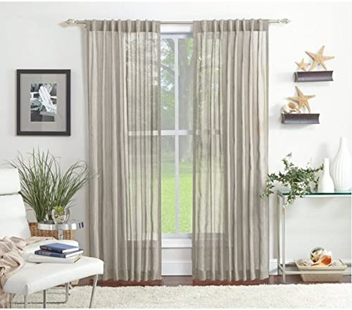 Amazon Com Allen Roth Ivory 84 L Glengray Light Filtering Back Tab Window Curtain Panel Home Kitchen