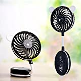Luxxio Mini Personal Cooling Handheld Fan - Cordless USB Rechargeable Battery with 2 Speeds - Portable Folding Electric Desk Fans for Women Men Kids Outdoor Traveling Fishing Camping (Black)
