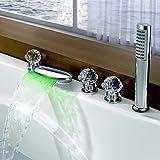 Moderne LED 3-Loch-Armatur Wasserfall with Messingventil Drei Griffe Fünf Löcher for Chrom , Badewannenarmaturen