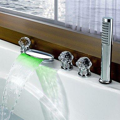 Moderne LED 3-Loch-Armatur Wasserfall with Messingventil Drei Griffe Fünf Löcher for Chrom , Badewannenarmaturen by FAUCET&YAMEIJIA