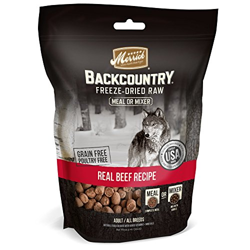 Merrick Backcountry Freeze-Dried Raw Real Beef Recipe Meal or Mixer Grain Free Adult Dog Food, 12.5 oz.