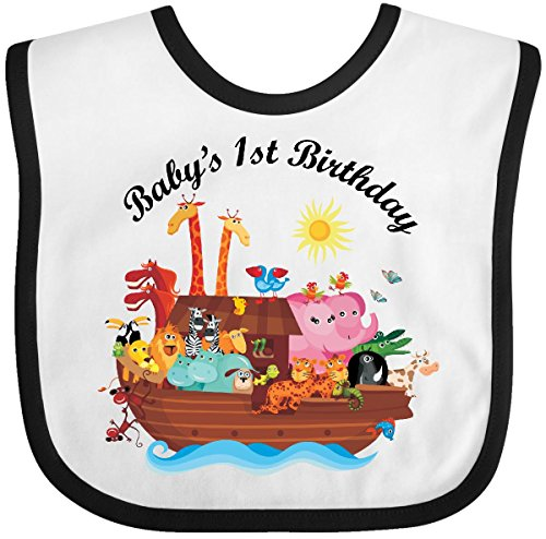 Inktastic - 1st Birthday Noahs Ark Animals Baby Bib White/Black
