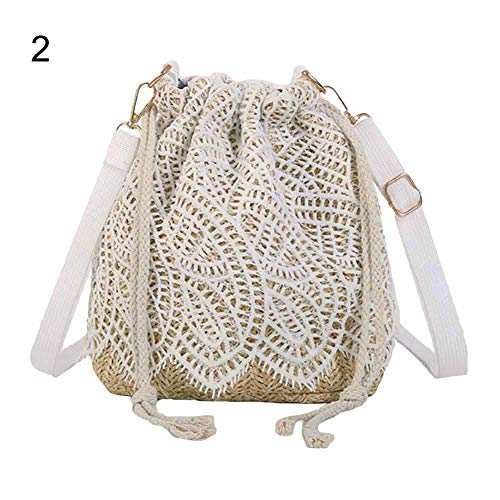 (Afco Fashion Diary Sweet Girl Floral Lace Woven Drawstring Beach Crossbody Shoulder Bucket Bag 2)