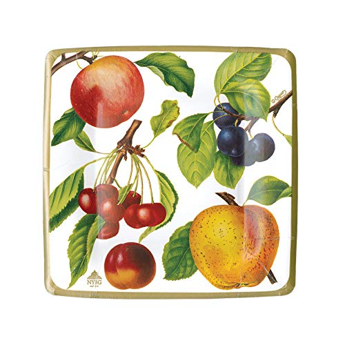 (Caspari Botanical Chintz Square Paper Salad & Dessert Plates in Ivory, Two Packs of 8)