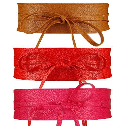 Womtop 3 PCS Women Waist Belts Soft PU Leather Cinch Belt Self Tie Wrap Around Obi Waist Band Boho Belt (D(Camel+Red+Rose)) ()