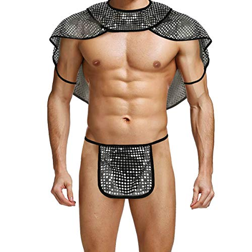 Agoky Mens See Through Roman Gladiator Costume Fancy Dress Role Play Outfits Cape Shawl Collar with G-String Set Black Large