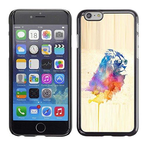 TopCaseStore / caoutchouc Hard Case Housse de protection la Peau - Cool Lion Sunglasses Watercolor Art Painting Cat - Apple iPhone 6 Plus 5.5