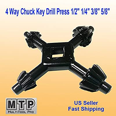 "MTP 4 Way Chuck Key Drill Press 1/2"" 1/4"" 3/8"" 5/8"" Universal Combination #1 , #2, #3 - #4"