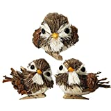 YuQi Handmade Sparrow with Clip Sets of 3 Artificial Decorations Fake Birds for Arts Ornaments and Crafts,Home Décor Accents for Country Christmas Tree (Brown)