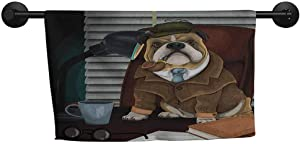 xixiBO Soft Towel W 28 x L 14(inch) Pattern Towel,English Bulldog,Traditional English Detective Dog with a Pipe and Hat Sherlock Holmes Image,Multicolor