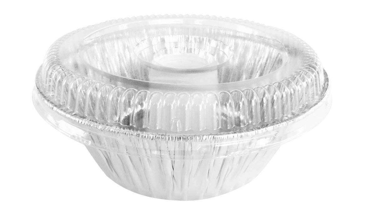 D & W Disposable Aluminum Angel Food Pans w/ Clear Dome Lids. Combo Pack of 100