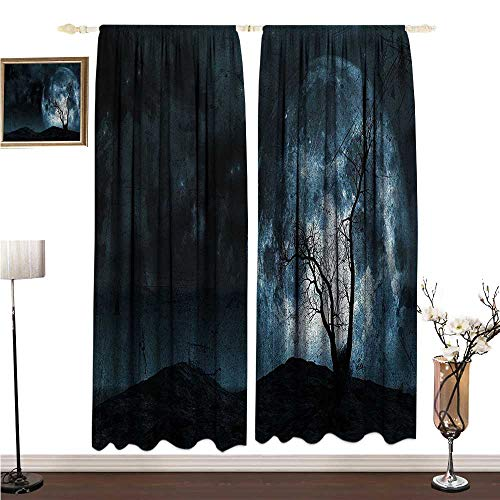 Anshesix Polyester Curtain Fantasy Night Moon Sky with Tree Silhouette Gothic Halloween Colors Scary Artsy Background W108 xL84 -