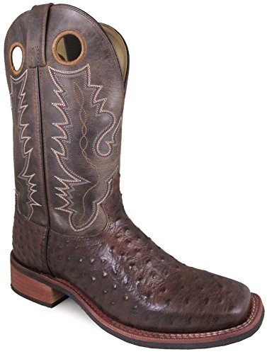 Smoky Mountain Men's Danville Pull On Stitched Textured Square Toe Tobacco/Brown Crackle Boots 9D by Smoky Mountain Boots