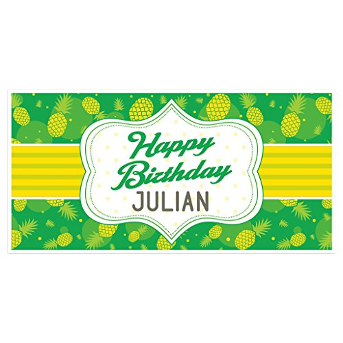 - Green and Yellow Pineapple Birthday Banner Personalized Party Backdrop