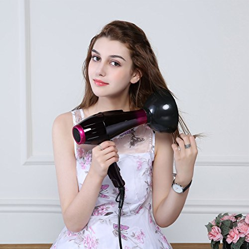 Hair Dryer Professional Salon Styling Far Infrared Negative Anion Blowing Dryer Hot Air Hair Dryer with 2 Nozzles with 2 Speeds 3 Heat Settings Fast Cool Hot Air Blower