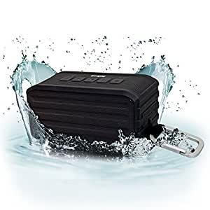 iGadgitz IGA-370 IPX4 Waterproof Portable Wireless Bluetooth Travel Speaker (Bluetooth 4.0 / 7W Power Output) with Carabineer Hanging Clip – Black