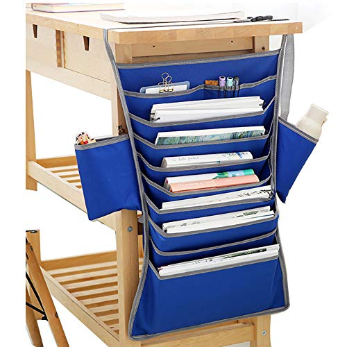FIVE BEE 12 Multi-Pocket Adjustable Heavy-Duty Oxford Stationery Organizer, Students Classroom Desk Hanging Books Files Pen Storage Holder Bag(25x16 inch,Blue)