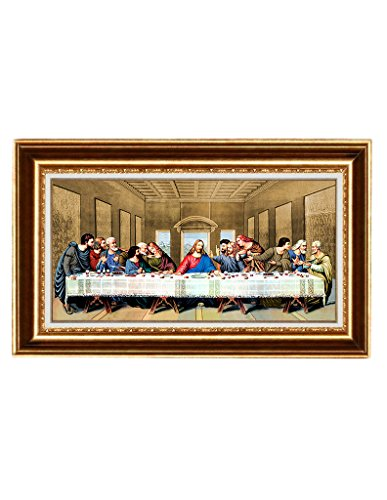 Eliteart- Jesus Christ The Last Supper by Leonardo da Vinci Giclee Art Canvas Prints Framed Size:36''x22'' by Elite Art