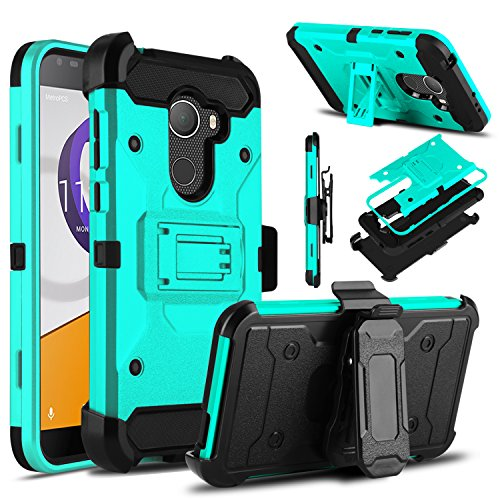 Alcatel T-Mobile REVVL Case, Alcatel A30 Fierce Case, Venoro Heavy Duty Armor Shockproof Rugged Protection Case Cover with Belt Clip and Kickstand for Alcatel A30 Plus / Alcatel Walters (Blue Green) (T-mobile Clip)