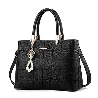 H.Tavel Sweety Lady Women's Top-Handle Plaid Leather Handbag Fashion Satchel Black