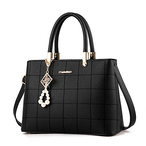 HTavel-Sweety-Lady-Womens-Top-Handle-Plaid-Leather-Handbag-Fashion-Satchel