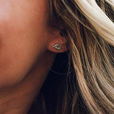 Minimalist Earrings Gift Wave Tiny Stud Earrings Jewelry