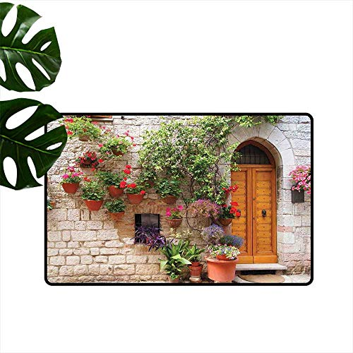 PEONIY&HOME Tuscan,Floor mats Begonia Blossoms in Box Window Wooden Shutters Brick Wall Romagna Italy Weather mats W 24