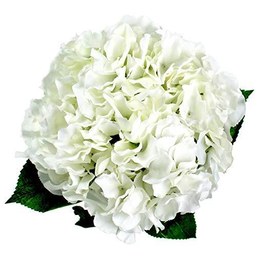 Lacheln White Hydrangea Artificial Silk Flowers 5 Big Heads Silk Bunch Bouquet Home Wedding Party Decor