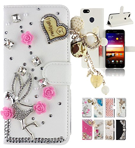 ZTE Blade Force N9517 Case, ZTE Blade X Z965/ZTE Warp 8 Case,Best Share Luxury Bling Diamond Flip Leather Kickstand Wallet Case With Card Slot Full Protective Cover, Angel ()