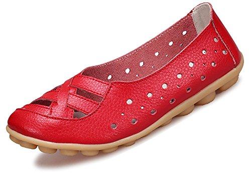 Fangsto Kvinna Läder Loafers Lägenheter Sandaler Slip-on Red