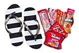 Black and White Striped Adult Flip Flop Sandals and Candy Camp Care Package