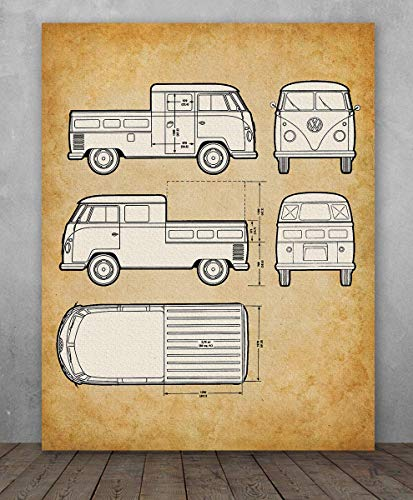 Poster - Volkswagen Type 2 Bus Pick-Up Patent - Choose Unframed Poster or Canvas - Makes a Great Gift for VW Fans