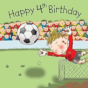 Twizler 4th Birthday Card For Boy With Cute Football Goalie Cut Out Ball