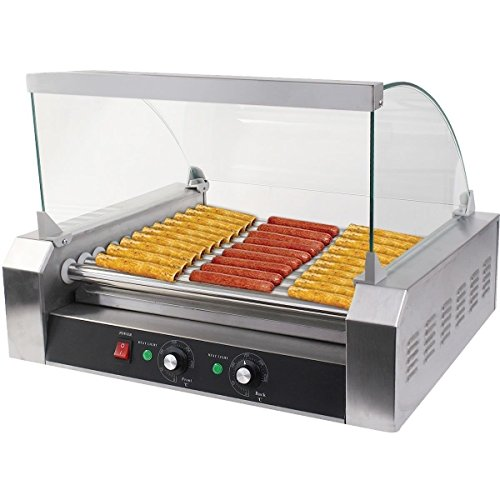 Cheap Safstar 11 Roller 30 Hot Dog Grill Machine Commercial Hotdog Cooker Maker Machine with Cover (11 Rollers)