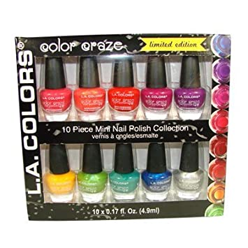 Amazon.com : L.A. Colors Color Craze Nail Polish 10pc Mini Nail ...