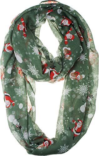 VIVIAN & VINCENT Soft Light Elegant Merry Christmas Sheer Infinity Scarf Green Santa & Snowman C13 ()