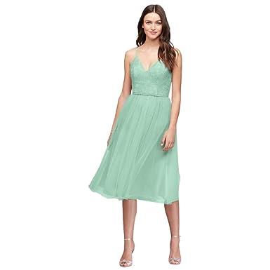 bc31970163 David s Bridal Chantilly Lace and Tulle Short Bridesmaid Dress Style  F19704