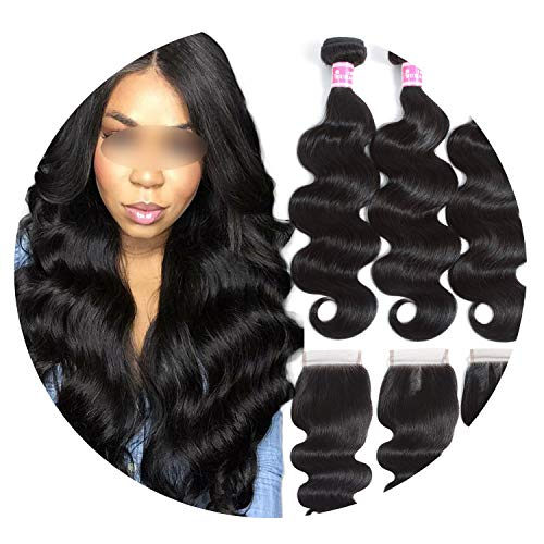 Brazilian Hair Weave 3 Bundles With Closure Double Weft Body Wave Human Hair Bundles With Closure Soft Remy Hair,8 with 8closure,Natural Color,Three Part]()
