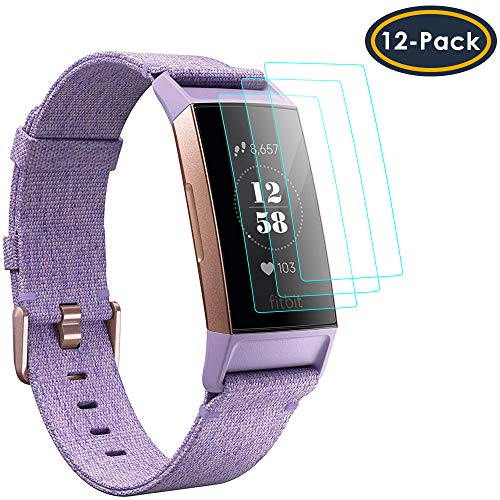 QIBOX Screen Protector Compatible Fitbit Charge 3, Full Coverage Waterproof Screen Protector Film Cover Saver Compatible Fitbit Charge 3 Wristband Smart Fitness Watch Tracker [12 Packs]