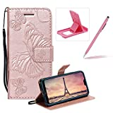Strap Leather Case for Huawei P20,Wallet Leather Case for Huawei P20,Herzzer Premium Stylish Pretty 3D Rose Gold Butterfly Printed Bookstyle Magnetic Full Body Soft Rubber Flip Portable Carrying Stand Case with Card Holder Slots