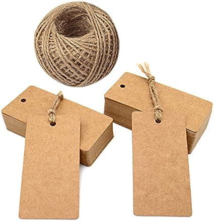 Papier Kraft Tags,100 PCS Etiquettes Ficelle de Jute Brun /Étiquettes de Mariage avec 10 M/ètres Jute Ficelle pour Bagage Danniversaire,Cadeau et /étiquettes de Bricolage 7cm x 2cm