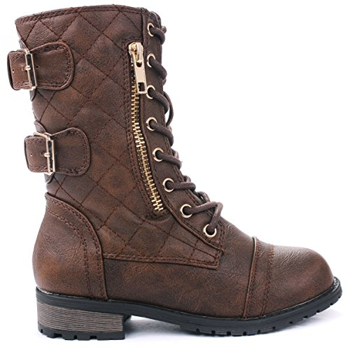 JJF Shoes Mango-79 Kids Brown Combat Lace Up Quilted Dual Buckle Zip Decor Mid Calf Motorcycle Boots-4