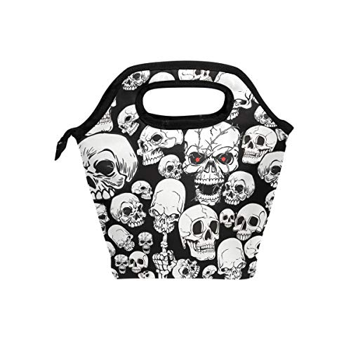 HEOEH Scary Skull Red Eye Fuck Finger Lunch Bag Cooler Tote Bag Insulated Zipper Lunch Boxes Handbag for Outdoors School Office
