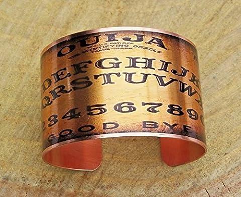 Ouija Board Image Copper Cuff Bangle Bracelet Handmade Adjustable in Gift Box - Revere Copper Brass
