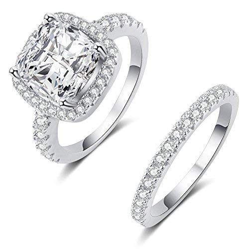 (Mars wings 925 Sterling Silver White Cz Engagement Wedding Ring Sets for Women (6))