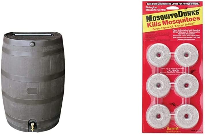 RTS Home Accents 50-Gallon Rain Water Collection Barrel with Brass Spigot, Brown & Summit Responsible Solutions 110-12 Mosquito Dunks, 6-Pack, Natural