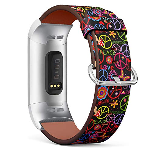 - Replacement Leather Strap Printing Wristbands Compatible with Fitbit Charge 3 / Charge 3 SE - Hippie Style Peace Sign on Floral Pattern