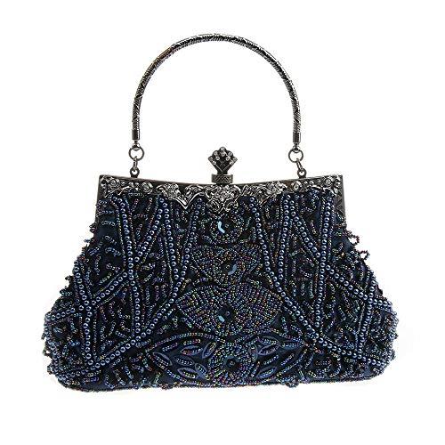 AIJUN Womne's Vintage Clutch Purse Cocktail Wedding Party Evening Handbag Sequin Moonlight Flower Bead Embroidery Package Evening Bag (Blue)